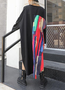 Loose asymmetric patchwork cotton quilting clothes Sleeve black Maxi Dress fall