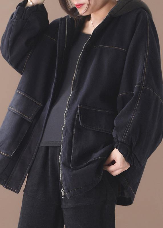 Loose black Fine clothes For Women Sewing two pockets patchwork hooded outwear