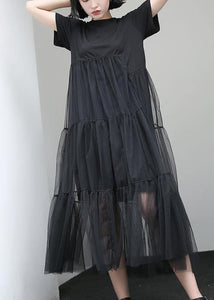 Loose black cotton Tunic asymmetric patchwork A Line summer Dress