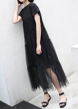 Load image into Gallery viewer, Loose black cotton Tunic asymmetric patchwork A Line summer Dress