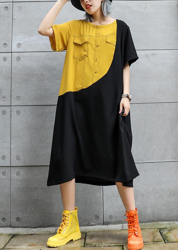 Loose black cotton quilting clothes o neck patchwork robes summer Dresses