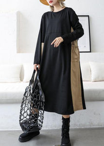 Loose black patchwork khaki cotton outfit o neck cotton fall Dresses