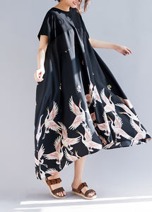 Loose black print linen clothes Plus Size Shirts o neck asymmetric long Summer Dress