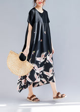 Load image into Gallery viewer, Loose black print linen clothes Plus Size Shirts o neck asymmetric long Summer Dress