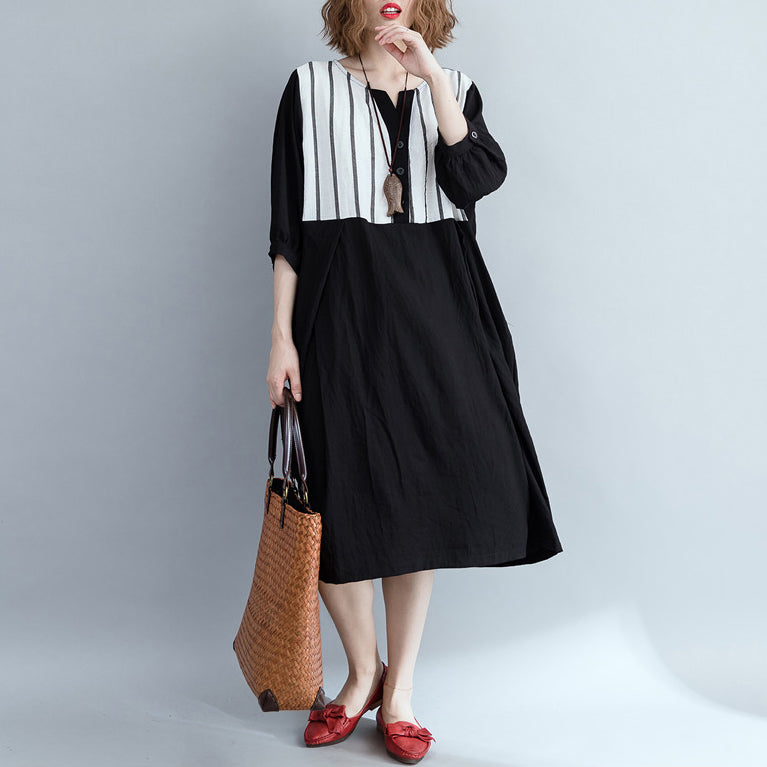 Loose black striped Cotton clothes Women Fashion Outfits patchwork Plus Size Dress