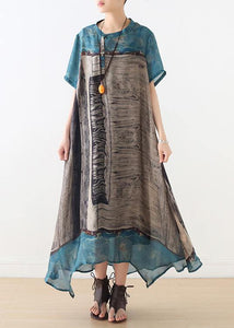 Loose blue gray print chiffon Wardrobes Korea Work o neck asymmetric A Line summer Dress