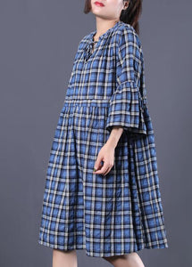 Loose blue plaid cotton tunic dress v neck A Line summer Dress