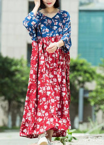 Loose blue red print cotton tunic pattern v neck asymmetric Maxi summer Dresses