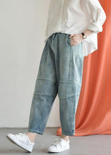 Load image into Gallery viewer, Loose casual old worn white irregular stitching wild wide leg jeans autumn new