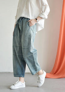 Loose casual old worn white irregular stitching wild wide leg jeans autumn new
