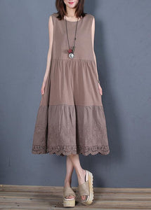 Loose chocolate cotton outfit o neck sleeveless Robe Dresses