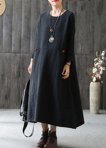 Loose cotton Wardrobes Vintage A-line Long Sleeve Cotton Loose Retro Dress