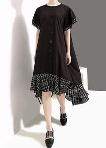 Loose cotton quilting clothes plus size Plaid Splided Loose Flare Sleeve Dress