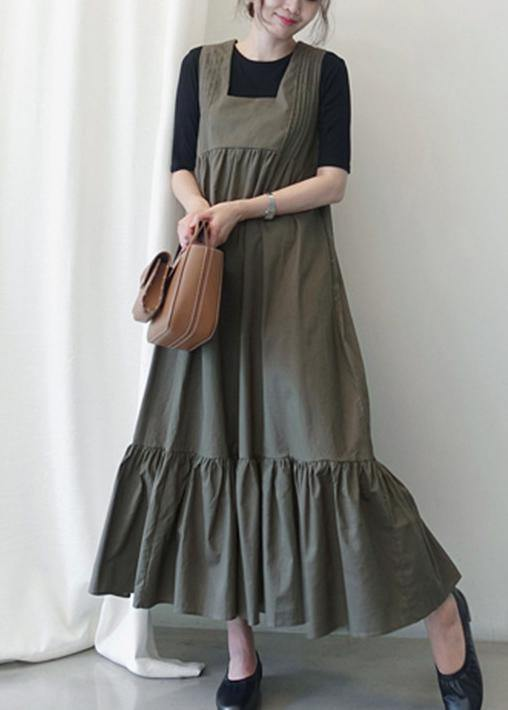 Loose dark gray cotton clothes Ruffles A Line summer Dress