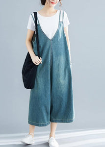 Loose denim blue cotton Tunics Korea loose jumpsuit pants