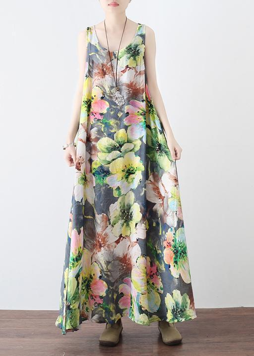 Loose floral cotton clothes Women Neckline Sleeveless Robe summer Dresses