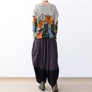 Loose gradient grå linned knickers baggy bukser overdimensionerede blomstrer linned outifts
