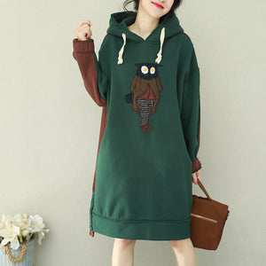 Loose green patchwork red Cotton Tunics Organic Runway hooded loose Dress