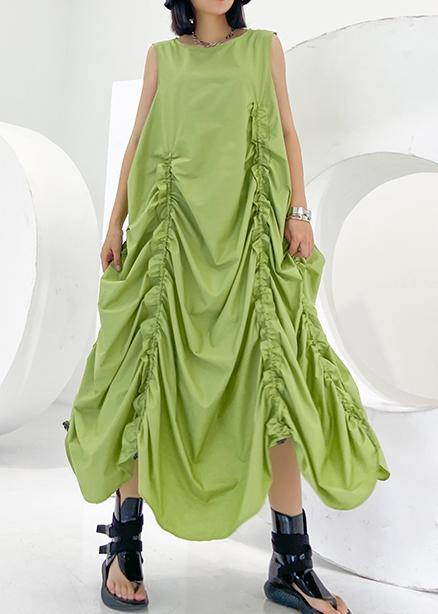 Loose green wrinkled cotton dresses o neck sleeveless Maxi Dresses