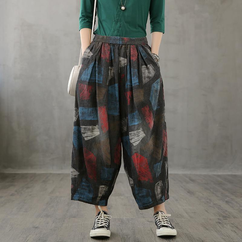 Loose high-waisted jeans children's slim red printed wide-leg pants