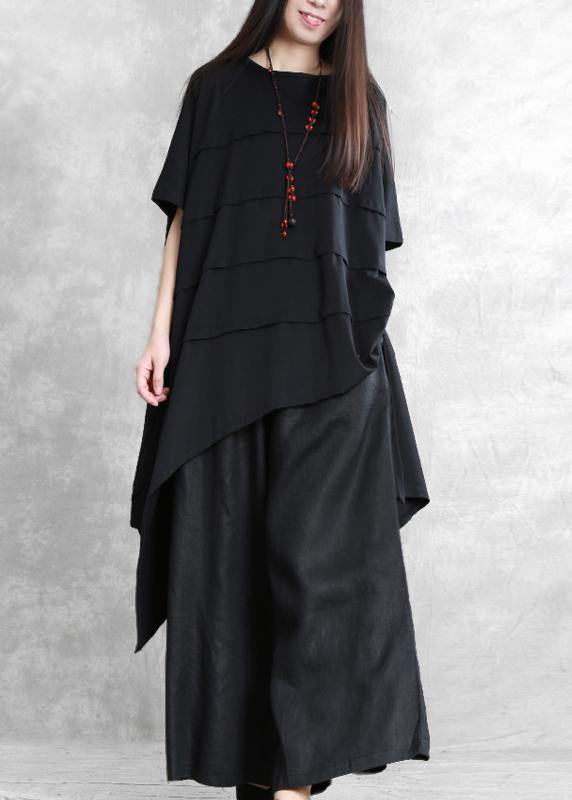 Loose irregular black two-piece personality tops wide-leg pants