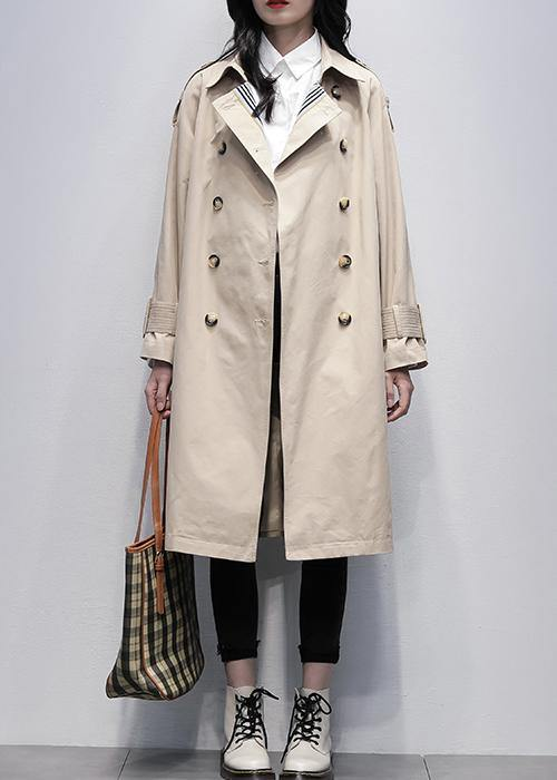 Loose khaki Plus Size trench coat Work Notched tie waist women coats
