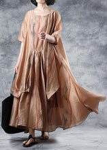 Load image into Gallery viewer, Loose khaki linen clothes For Women half sleeve Robe summer Dresses