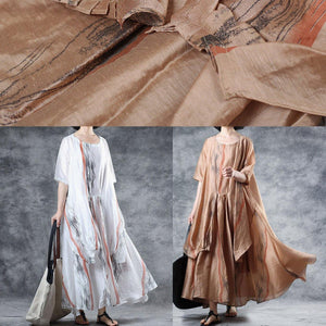 Loose khaki linen clothes For Women half sleeve Robe summer Dresses