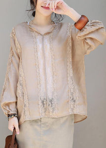 Loose khaki linen clothes lace patchwork loose v neck tops