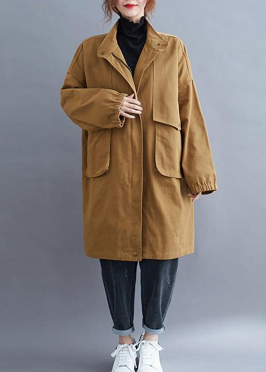 Loose khaki  coat for woman Outfits stand collar Large pockets coat