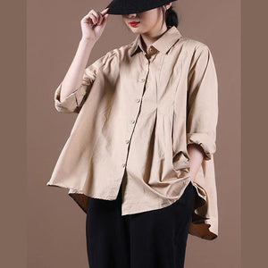 Loose khaki tops women blouses lapel large hem tunic fall shirts
