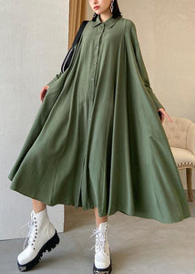 Solapa suelta exra dobladillo grande ropa Runway Army Green Robe Dress