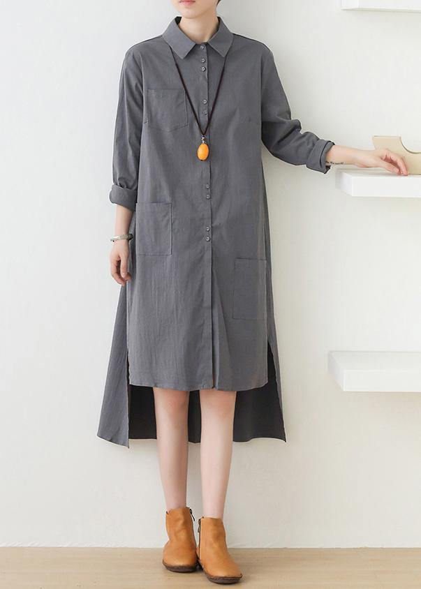 Loose lapel low high design quilting dresses design gray Dresses