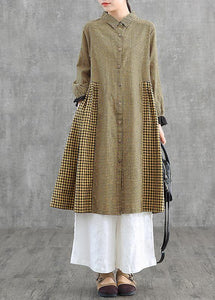 Loose lapel patchwork cotton Wardrobes Tunic Tops yellow plaid Dress