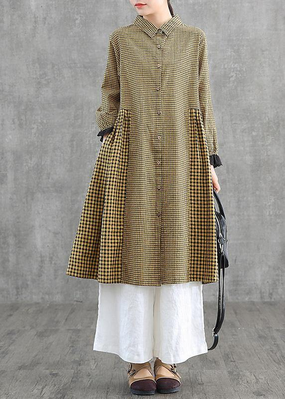 Oversize patchwork cotton Dresses Wardrobes Tunic Tops yellow plaid Dress