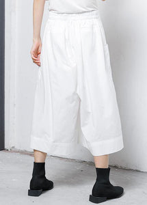 Loose linen clothes Pakistani Solid Elastic Waist Casual Wide Leg Pants
