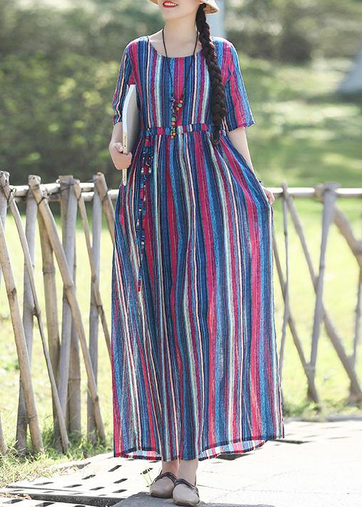 Loose o neck Half sleeve linen cotton outfit 2019 Photography blue striped long Dresses Summer
