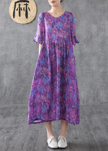 Loose o neck Petal Sleeve linen Robes Fashion Ideas purple print Dress summer