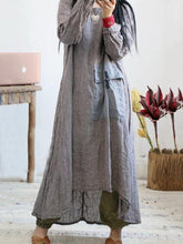 Load image into Gallery viewer, Loose o neck asymmetric cotton linen Soft Surroundings Wardrobes plaid Dress