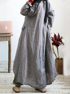 Loose o neck asymmetric cotton linen Soft Surroundings Wardrobes plaid Dress