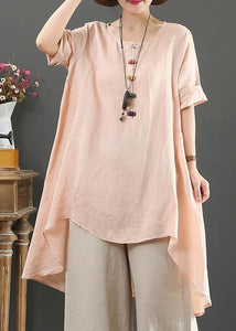Loose o neck asymmetric linen summer linen tops women pattern pink shirts