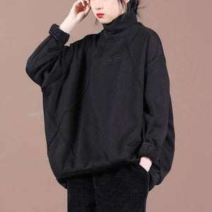Loose o neck embroidery spring Tunic Shape black blouses