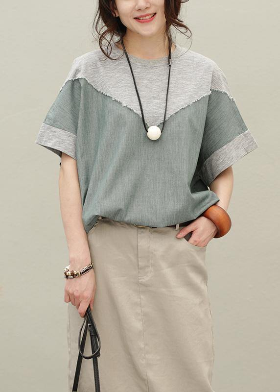 Loose o neck patchwork cotton summer Blouse pattern gray tops