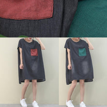 Load image into Gallery viewer, Loose o neck red pockets Cotton quilting dresses Inspiration denim black Dress