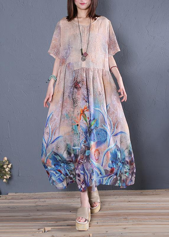 Loose o neck Cinched linen summer clothes Sleeve blue print Dress