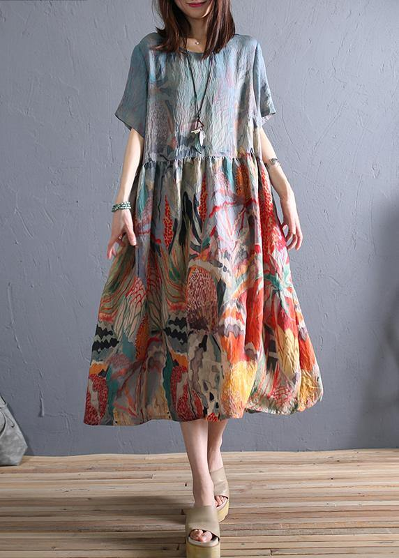 Loose o neck wrinkled linen summer clothes Wardrobes khaki print Dress