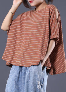 Loose off the shoulder sleeve cotton crane tops Cotton dark khaki striped tops summer