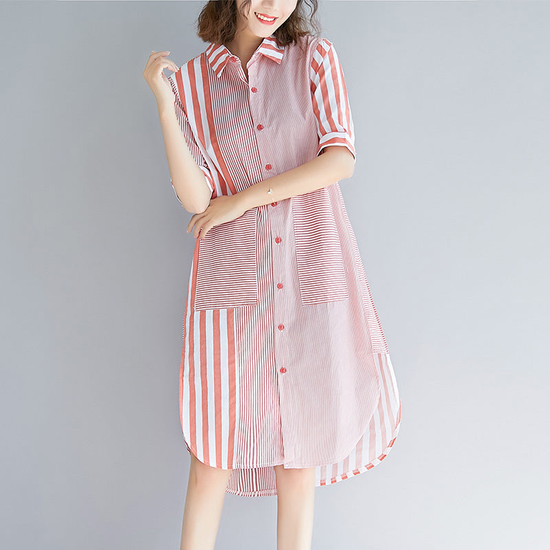 Loose pink striped Cotton quilting clothes Fun Photography side open Knee patchwork Dress