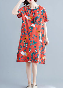 Loose red Cotton clothes Women o neck Midi summer print Dresses
