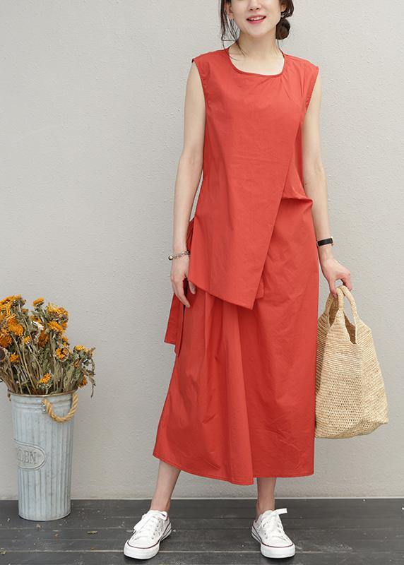 Loose red cotton Long Shirts o neck asymmetric Maxi summer Dress